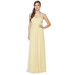 No. 1 Jenny Packham - Designer light yellow floral embellished maxi dress