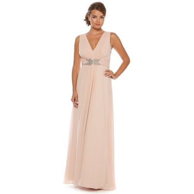 Pale pink chiffon maxi dress