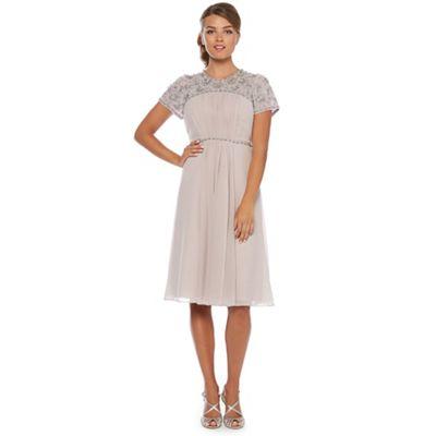 Taupe embellished panel midi dress