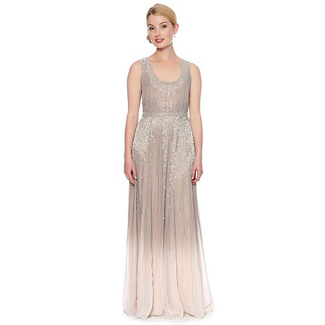 No. 1 Jenny Packham - Designer silver ombre embellished maxi dress