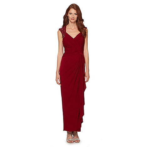 No. 1 Jenny Packham - Designer dark red embellished shoulder evening maxi dress