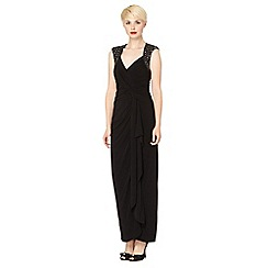 No. 1 Jenny Packham - Designer black embellished shoulder evening maxi dress