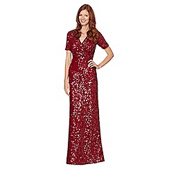 No. 1 Jenny Packham - Designer dark red sequin embellished maxi dress