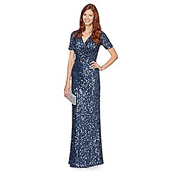 No. 1 Jenny Packham - Designer blue sequin embellished maxi evening dress