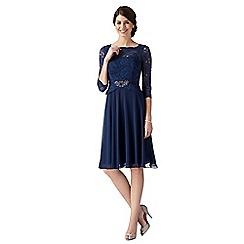 No. 1 Jenny Packham - Designer mid blue lace bodice midi dress