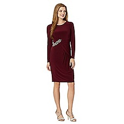 No. 1 Jenny Packham - Designer burgundy gathered jersey dress