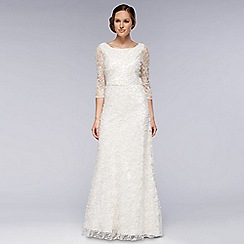 Debut - Ivory 3/4 Sleeve Embellished Lace Dress
