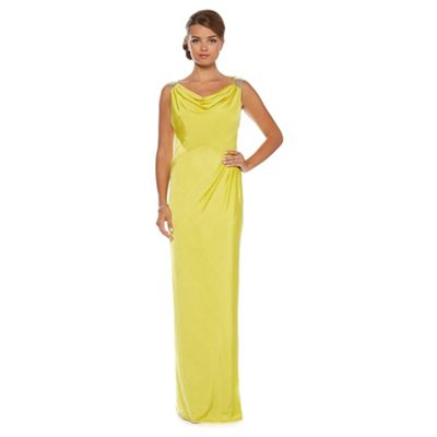 Lime cowl-neck maxi dress