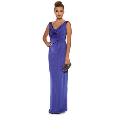 Purple cowl-neck maxi dress