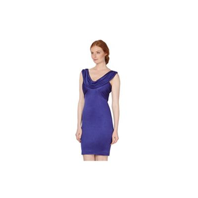 Designer bright purple cowl neck dress
