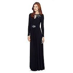 Pearce II Fionda - Designer dark blue embellished jersey maxi dress