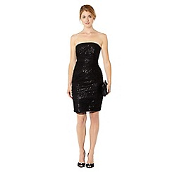 Pearce II Fionda - Designer black bandeau sequin mesh evening dress
