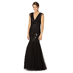 Pearce II Fionda - Designer black embellished fishtail skirt maxi dress
