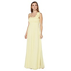 Debut - Pale yellow blossom detail one shoulder maxi dress