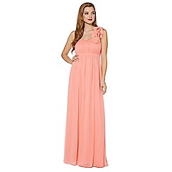 Debut - Pale orange blossom detail one shoulder maxi dress