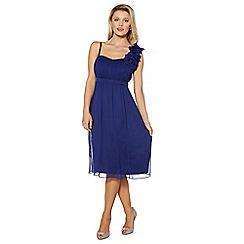 Debut - Royal blue blossom detail one shoulder midi dress
