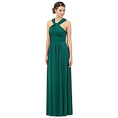 Debut - Green pleated multiway maxi evening dress