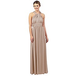 Debut - Latte pleated multiway maxi evening dress