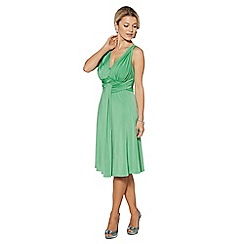 Debut - Bright green pleated jersey midi dress