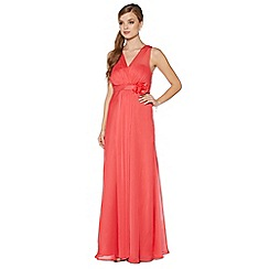 Debut - Bright coral corsage detail maxi dress