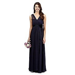 Debut - Blue chiffon v-neck full length bridesmaid dress