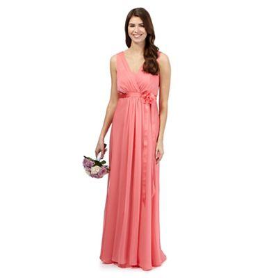 Debut Bright pink chiffon maxi dress