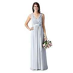 Debut - Fleur Silver grecian maxi evening dress