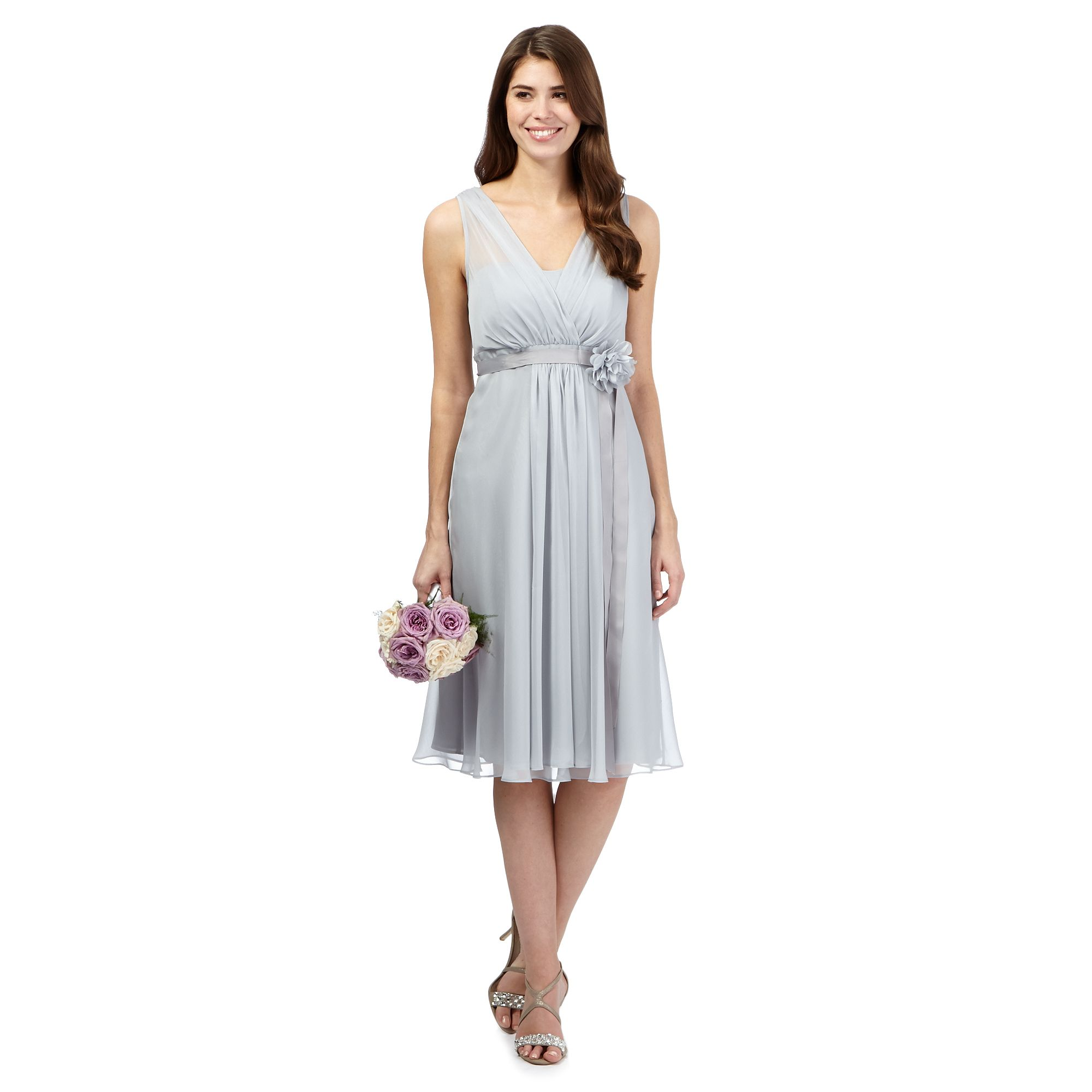 Debut Womens Pale Grey Corsage Detail Midi Dress From ...