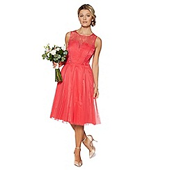 Debut - Coral pleated lace prom dress
