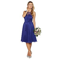 Debut - Bright blue pleated lace prom dress