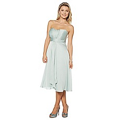 Debut - Light green ruched bust midi dress