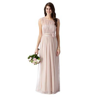Debut Pale pink mesh corsage maxi dress - . -