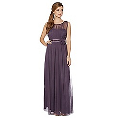 Debut - Mauve mesh build corsage maxi dress