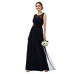 Debut - Dark blue mesh corsage maxi dress