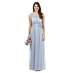 Debut - Pale grey mesh corsage maxi dress