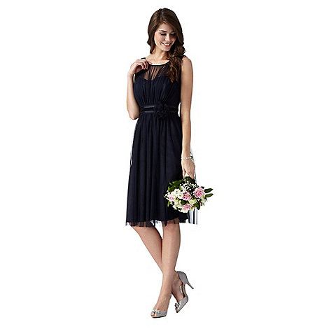 Debut - Dark blue corsage detail dress