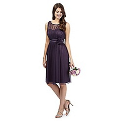 Debut - Mauve mesh corsage midi dress