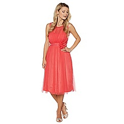 Debut - Bright coral mesh build corsage midi dress