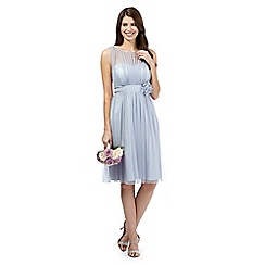 Debut - Pale grey mesh corsage midi dress