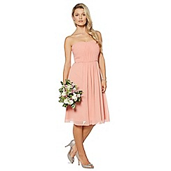 Debut - Peach ruched bodice midi dress
