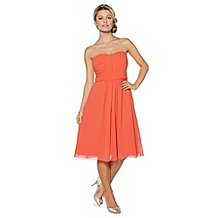 Debut - Bright coral ruched bodice midi dress