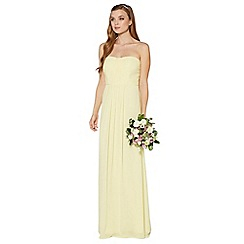Debut - Light yellow ruched bodice maxi dress
