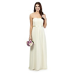Debut - Pale yellow ruched maxi dress