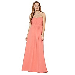 Debut - Coral ruched bodice maxi dress