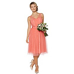 Debut - Peach lace prom dress