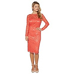 Debut - Coral floral lace cowl back dress