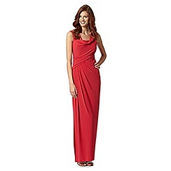 Debut - Bright red cowl neck draped maxi evening dress