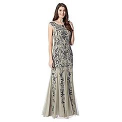 Debut - Silver embellished mesh maxi evening dress