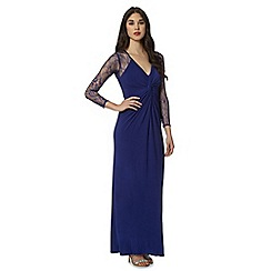 Debut - Bright blue lace sleeve maxi evening dress
