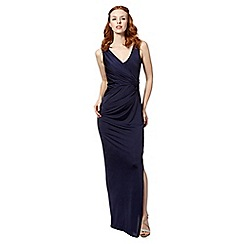 Debut - Navy jersey wrap evening dress